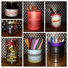 Repurposing old cans and jars for craft supply storage