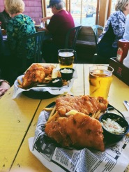 Lunch of fish and chips at Murphy's Cable Wharf