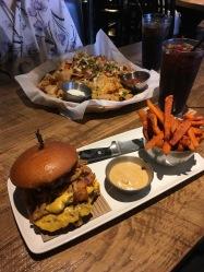 Burger and fries at Jack Astors